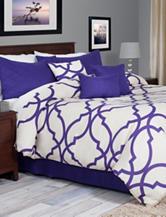 Everyday Home 7-pc. Purple & Cream Trellis Comforter Set