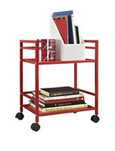 Altra Red Marshall 2-Shelf Metal Rolling Utility Cart