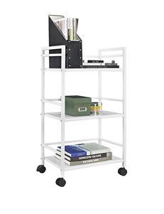Altra White Marshall 3-Shelf Metal Rolling Utility Cart