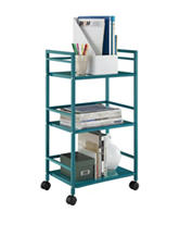 Altra Teal Marshall 3-Shelf Metal Rolling Utility Cart