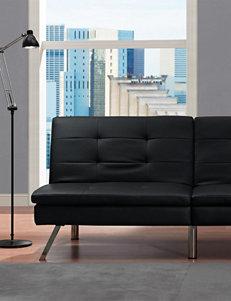 DHP Chelsea Faux Leather Futon Sofa Bed Black