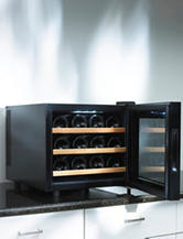 Wine Enthusiast Silent 12 Bottle Touchscreen Wood Shelf Wine Cooler