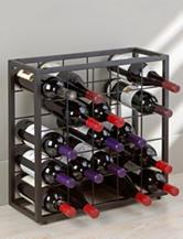 Wine Enthusiast Black Steel 25 Bottle Stackable Grid