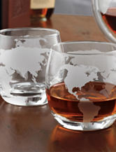 Wine Enthusiast 2-pc. Etched Globe Whiskey Glasses