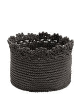Heritage Lace Charcoal Crochet Basket Set