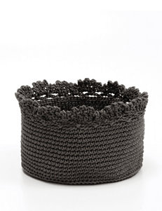 Heritage Lace Charcoal Crochet Basket Set