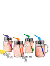 Artland 4-pk.  Oasis Mason Jar with Lid & Straw Set