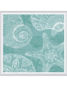 Green Leaf Art Aqua Treasure Framed Canvas