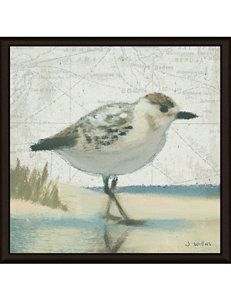 Green Leaf Art Beach Bird I Framed Canvas