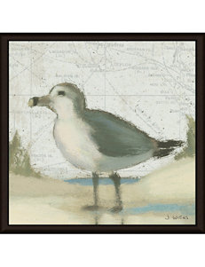 Green Leaf Art Beach Bird II Framed Canvas