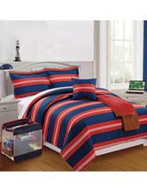 Compass George Sport Stripe Print Comforter Set