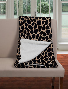 Lavish Home Giraffe Print Fleece Sherpa Backing Blanket