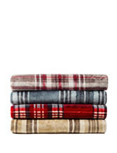 Great Hotels Collection Plaid Print Sherpa Throw