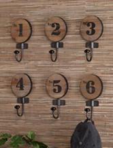 Southern Enterprises 6-pc. Decorative Numbered Hook Set