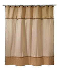 Avanti Beige Shower Curtains & Hooks