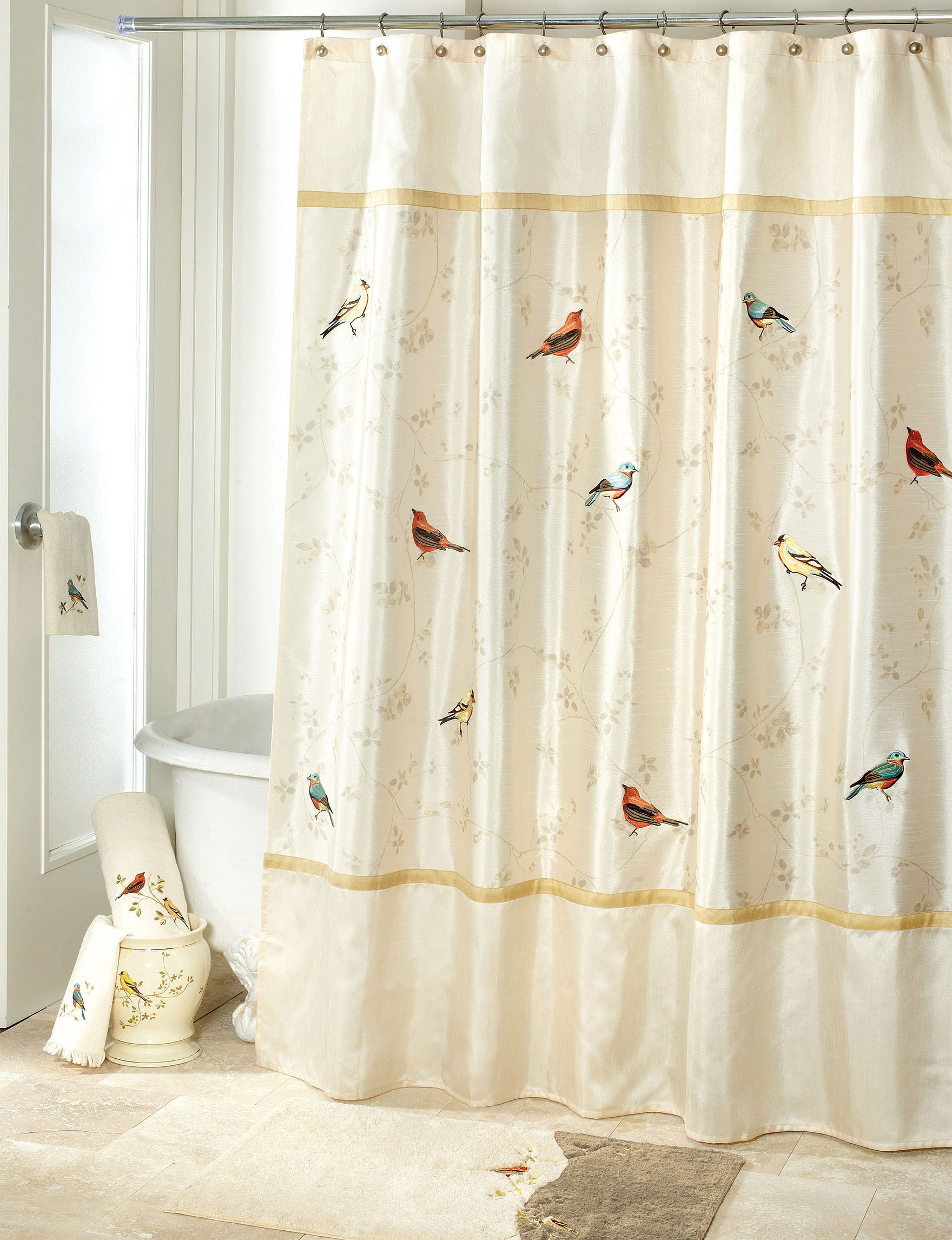 Avanti Gilded Birds Bath Collection Shower Curtain Stage Stores