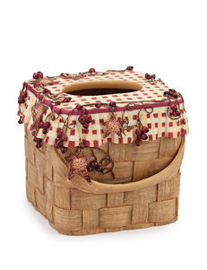 Avanti Burnt Red/ Tan Tissue Box Covers Bath Accessories