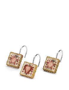 Avanti Burnt Red/ Tan Shower Curtains & Hooks
