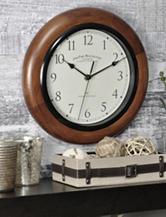 FirsTime Walnut Round Whisper Wall Clock
