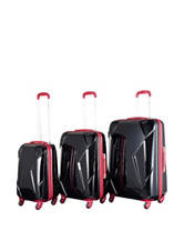 Chariot Travelware 3-pc. Black & Red Hardside Luggage Set