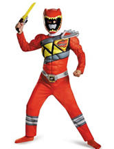 2-pc. Kids Power Rangers Dino Charge Red Ranger Muscle Costume