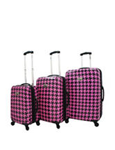 Chariot Travelware 3-pc. Pink Houndstooth Hard-Side Luggage Set