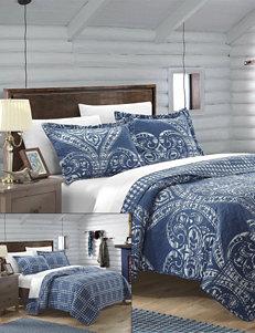 Chic Home Design Terni Navy Reversible Print Quilt Set