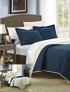Chic Home Design Ressa Reversible Navy Color Block Modern Design Quilt & Sheet Set