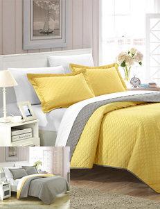 Chic Home Design Ressa Reversible Yellow Color Block Modern Design Quilt & Sheet Set