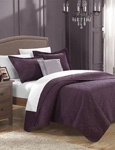 Chic Home Design 8-pc. Argeles Collection Plum Quilt Set