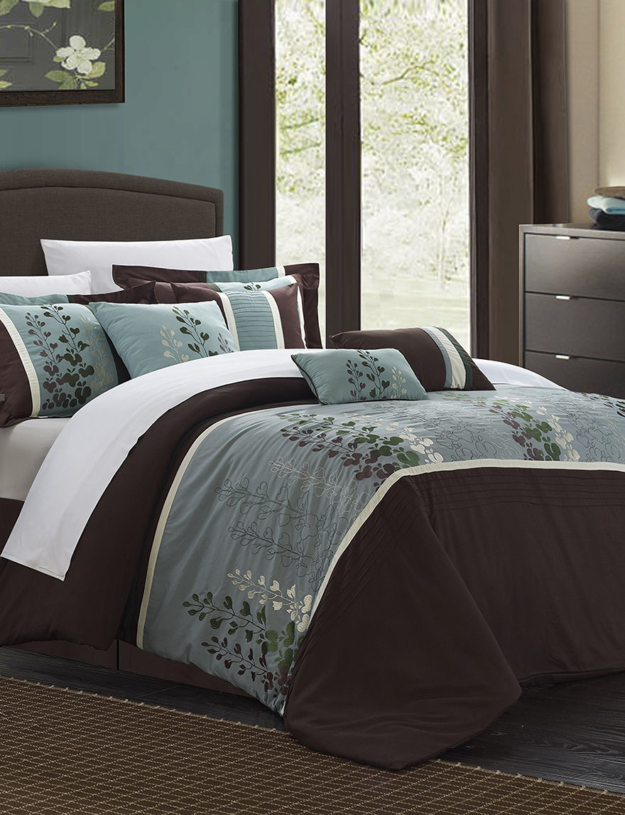 chic home design 8-pc. brown evania oversized bed set | stage stores