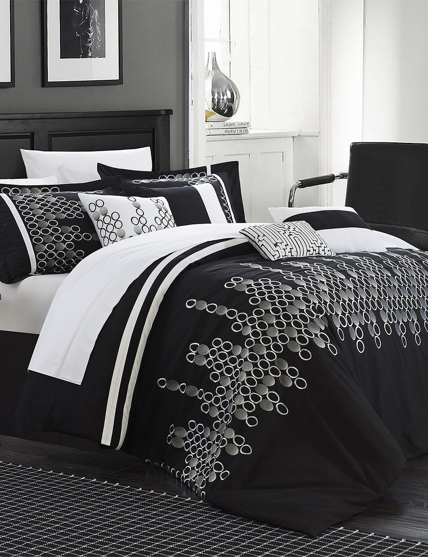 chic home design 12-pc. laurie oversized black comforter set