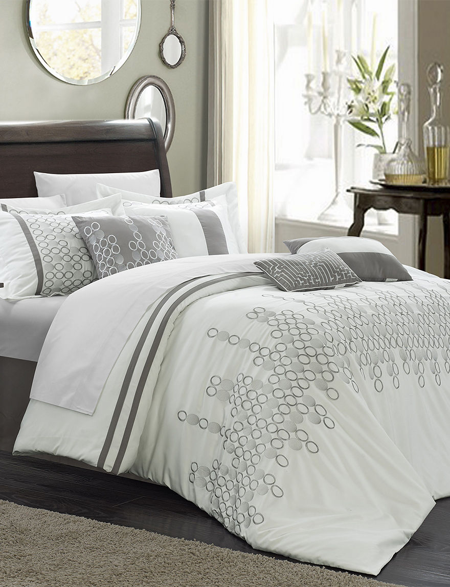 chic home design 12-pc. laurie oversized white comforter set