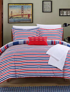 Chic Home Design Red Cambridge Stripe Reversible Comforter Set
