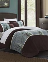 Chic Home Design 7-pc. Brown Vidonia Florals Duvet Set