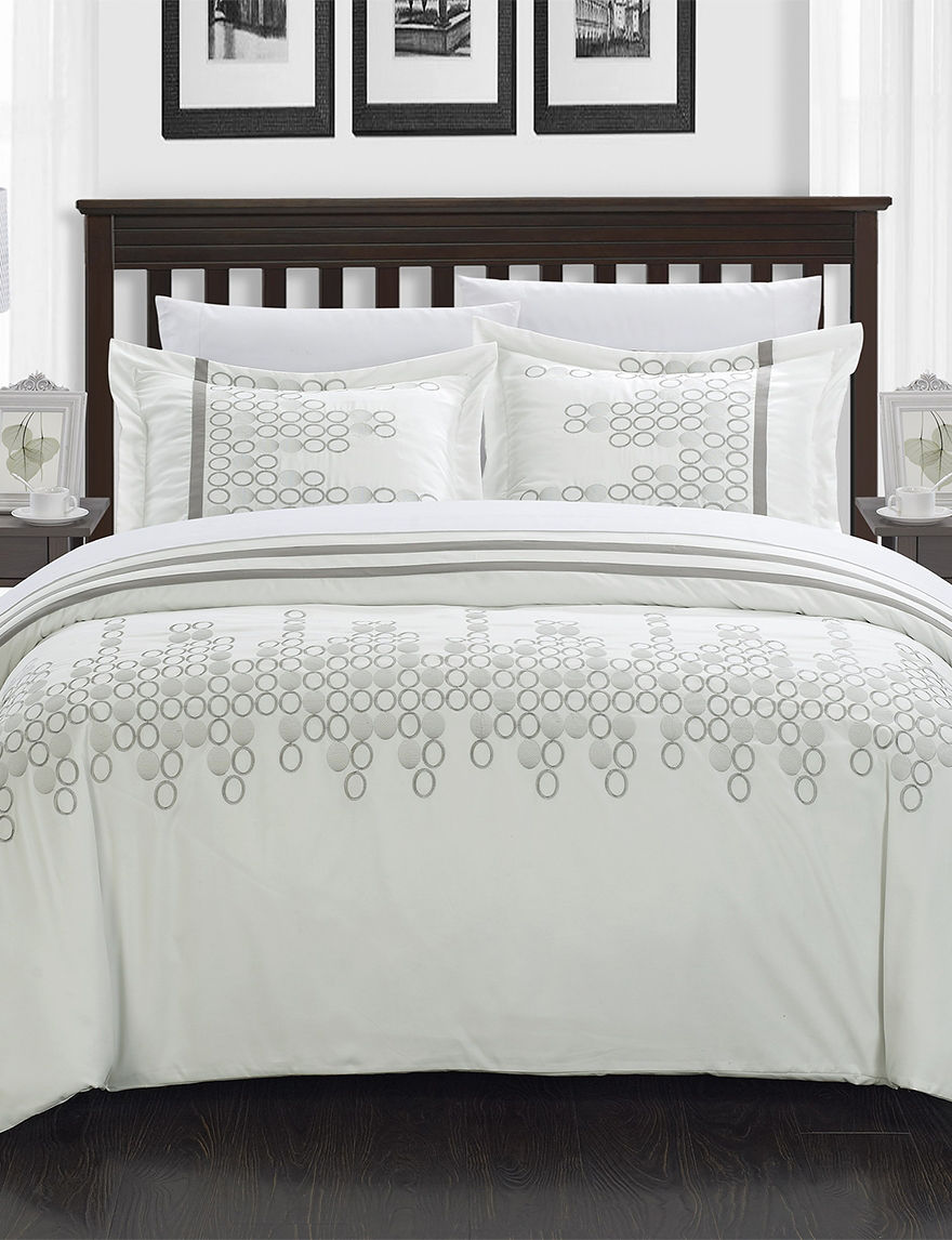 chic home design 7-pc. joseph white embroidered duvet set | stage