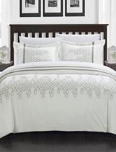 Chic Home Design 3-pc. Joseph White Embroidered Duvet Set