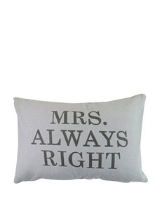 Vintage House Mrs Always Right Decorative Pillow