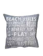 Vintage House Beach Rules Decorative Pillow