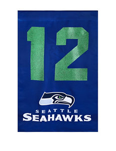 Seattle Seahawks Spirit of 12 Two-Sided Glitter Embellished Flag