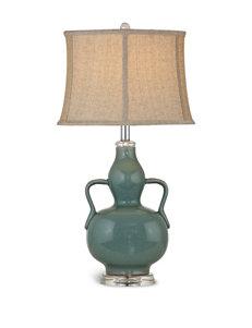 Bassett Mirror Co. Celedon Ceramic Crystal Table Lamps Lighting & Lamps