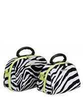 Rockland 2-pc. Green Zebra Print Cosmetic Bag Set