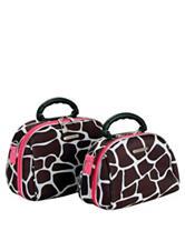 Rockland 2-pc. Pink Giraffe Print Cosmetic Bag Set