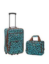 Rockland 2-pc. Blue Cheetah Print Suitcase & Tote Set