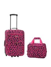 Rockland 2-pc. Pink Cheetah Print Suitcase & Tote Set