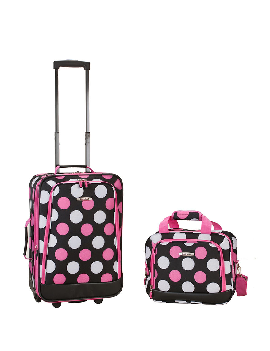 Rockland Black / Pink Luggage Sets