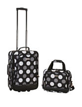 Rockland 2-pc. Grey & White Dot Print Suitcase & Tote Set