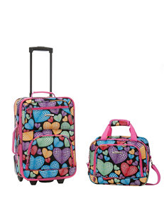 Rockland 2-pc. Multicolor Heart Print Suitcase & Tote Set
