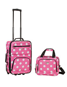 Rockland 2-pc. Pink & White Dot Print Suitcase & Tote Set
