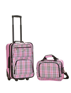 Rockland Pink Plaid Luggage Sets Travel Totes Upright Spinners